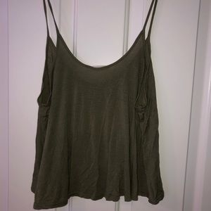 cropped olive green tank top